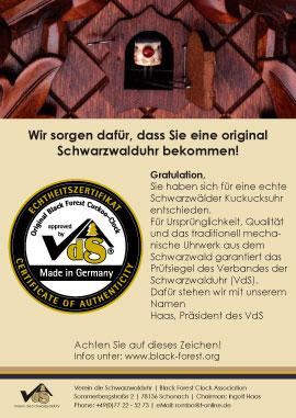 Certificate » Black Forest Clock Association
